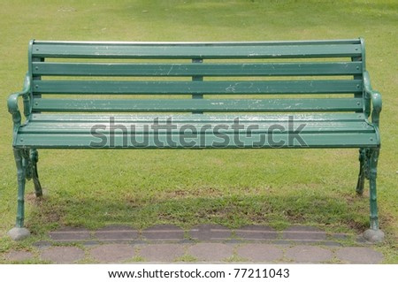 chair in the park as green grass color - stock photo