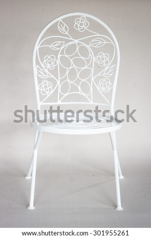 chair iron furniture  on recycled Paper background