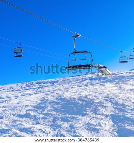 chair lift for skiing in the mountains in winter
