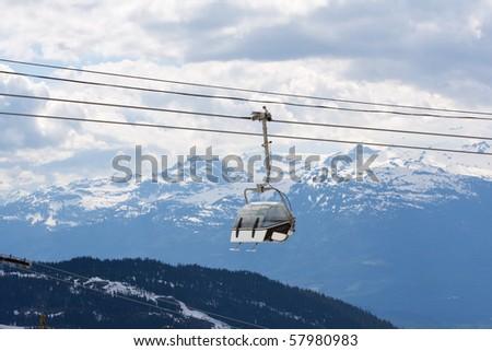 Chair lift for the ski runs at Whistler Peak in British Columbia, Canada