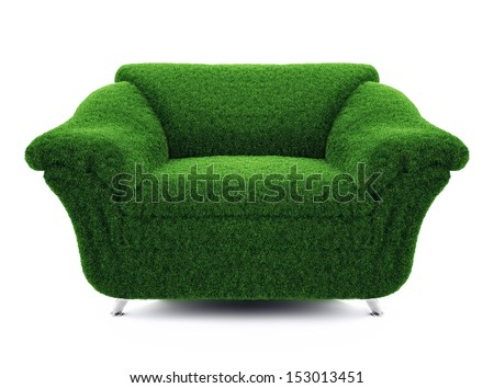 chair of the grass on a white background - stock photo