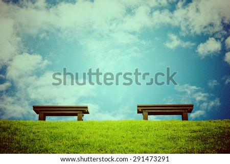 chair on a meadow with green grass and blue sky, vintage retro style.