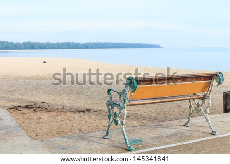 Chair on the beach in Songkhla province, Thailand - stock photo
