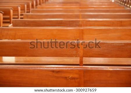 Chair prayer in the church, Interior Inside a Catholic Church,Thailand - stock photo