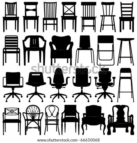 Chair Set Black - stock photo