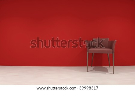 Chair to face a blank red wall