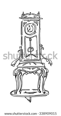 chair with a clock on the pushpin. Manual graphics ink. Adult Coloring Books - stock photo