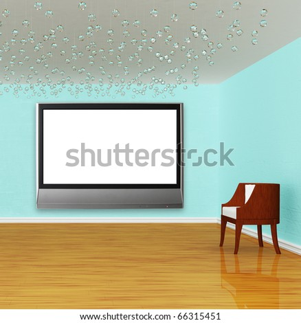 Chair with flat tv in luxurious empty gallery
