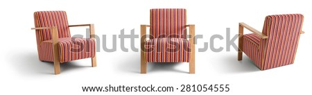 Chair with wooden armrests - stock photo