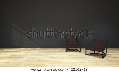 chair wood, leather seat and black wall / 3D Rendering