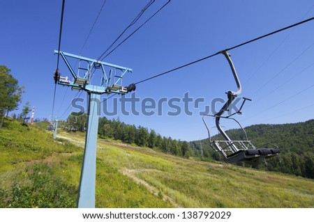 chairlift at a ski resort on Lake Baikal, Russia. - stock photo