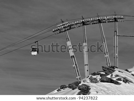 Chairlift in Les Deux Alps (black and white) -  France - stock photo