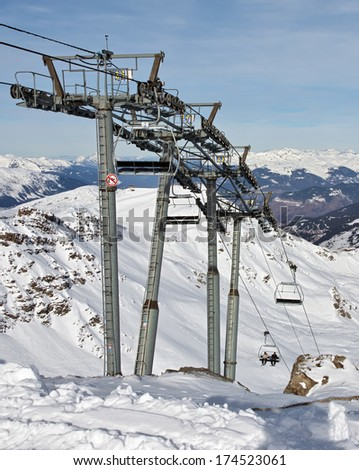 Chairlift - Les Deux Alps resort, France - stock photo