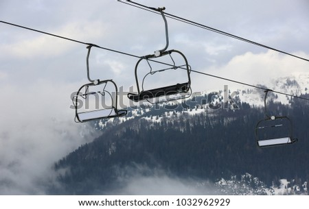 chairlift on winter ski mountains resort