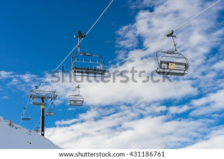 chairlifts at Coronet peak ski field in Queenstown New Zealand - stock photo