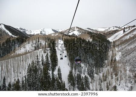 Chairlifts in Utah ski resort - stock photo