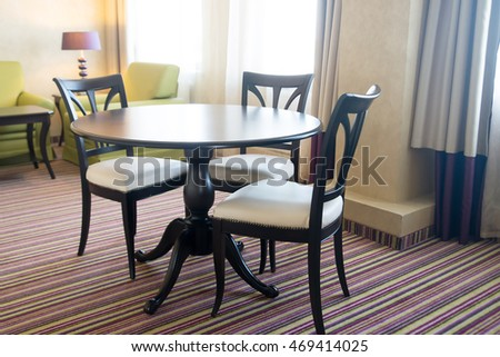 Chairs and table furniture. Dining room. Indoor