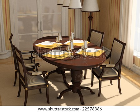 chairs and table in the classic interrior 3D