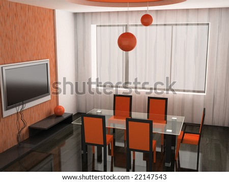 chairs and table in the modern interrior 3D