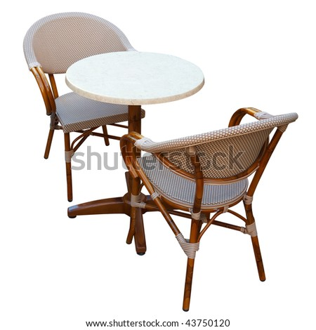Chairs and table. Isolated on white, with clipping path.