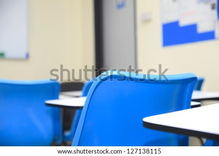 Chairs and tables in a classroom
