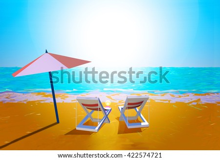 Chairs and umbrella on the beach - stock photo