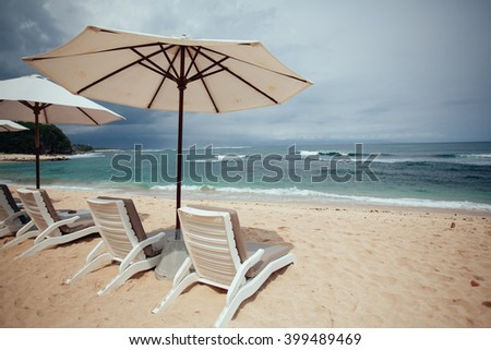 chairs and white umbrella on the beach. Banner.Summer.Travel,Vacation concept