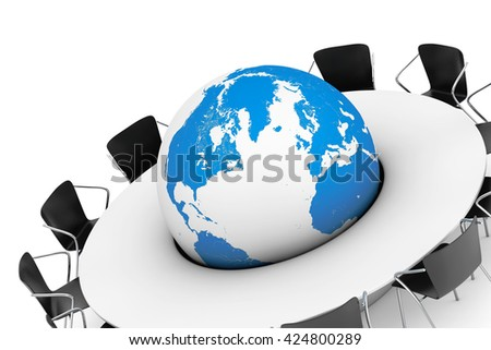 Chairs around a Table with the Earth Globe in the middle on a white background. 3d Rendering