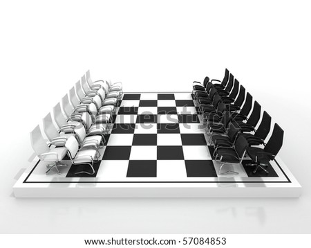 chairs chessboard isolated on white background - stock photo