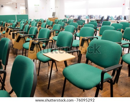 Chairs in a university classroom - stock photo