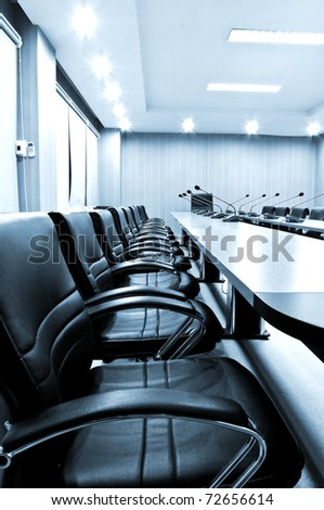 Chairs in Meeting room - blue tone - stock photo