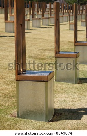 Chairs in Oklahoma City National Memorial - stock photo