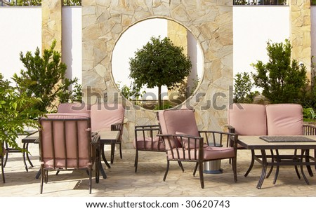 chairs in park - stock photo