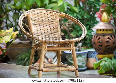 Chairs made of rattan. - stock photo