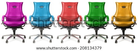 chairs of different colors, isolated on a white background - stock photo