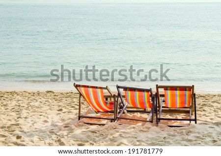 Chairs on a beautiful tropical beach.