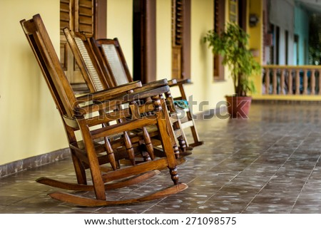 Chairs on a porch in Vinales, Cuba - stock photo