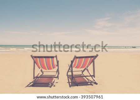 chairs on beautiful tropical beach