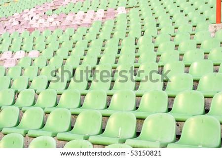 Chairs on stadium - stock photo