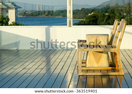 chairs on terrace with seaview