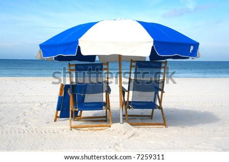 Chairs on the beach (closeup) - stock photo