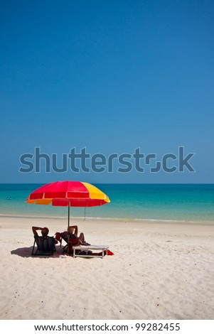 chairs on the beach for relax - stock photo