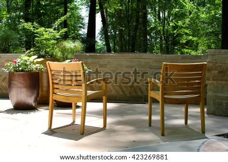 Chairs Overlooking Gardens - stock photo