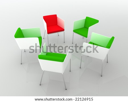 Chairs scene 3d high resolution rendering. Concept of individuality, leadership, diversity, meeting... - stock photo