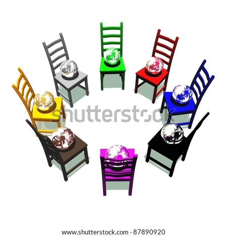 Chairs with many colors for a meeting about earth - stock photo