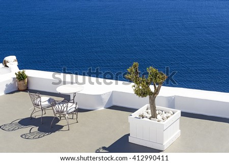 Chairs with sea view in Santorini, Greece