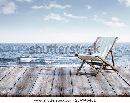 chaise lounge on berth. 3d rendering - stock photo