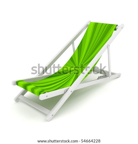 Chaise lounge over white. 3d render - stock photo