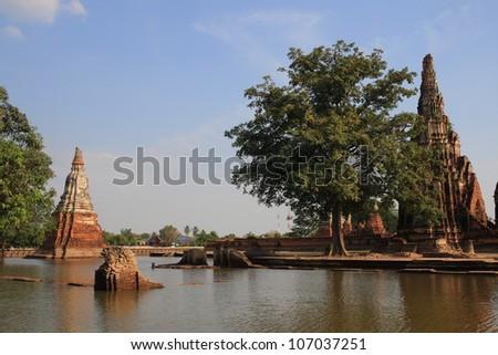 Chaiwattanaram, historic temple in Ayutthaya, Thailand 2011 flood - stock photo