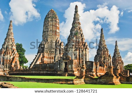 Chaiwatthanaram temple at Ayutthaya in Thailand and most famous for tourist - stock photo